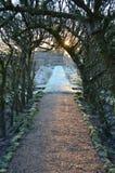 Nascer do sol sobre um jardim dos invernos Foto de Stock Royalty Free
