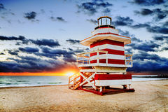 Nascer do sol sul da praia de Miami foto de stock royalty free