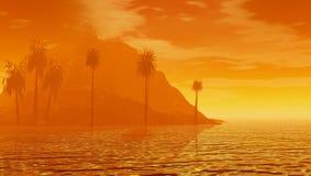Nascer do sol tropical obscuro ilustração stock