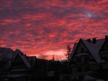Nascer do sol vermelho do inverno Foto de Stock Royalty Free