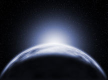 Nascer do sol, vista do planeta do gelo ilustração royalty free