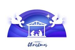 Nascimento do bebê Jesus de Cristo no comedoiro Família santamente magi angels Estrela de Belém - cometa do leste Natal da nativi ilustração stock