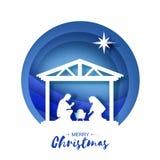 Nascimento do bebê Jesus de Cristo no comedoiro Família santamente magi Estrela de Belém - cometa do leste Projeto do Natal da na ilustração royalty free