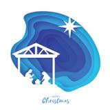 Nascimento do bebê Jesus de Cristo no comedoiro Família santamente magi Estrela de Belém de S - cometa do leste Natal da nativida ilustração do vetor