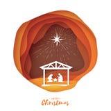 Nascimento do bebê Jesus de Cristo no comedoiro Família santamente magi Estrela de Belém de S - cometa do leste Natal da nativida ilustração stock