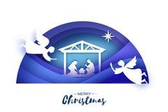Nascimento do bebê Jesus de Cristo no comedoiro Família santamente magi Três reis e estrelas sábios de Bethlehem - cometa do lest ilustração do vetor