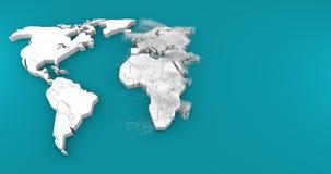 nascita 3d della mappa di mondo stock footage
