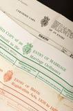Nascita, matrimonio e certificati di morte Fotografie Stock Libere da Diritti