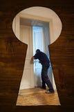 Nascondendosi nel gabinetto Fotografie Stock