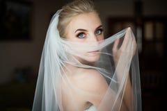 Nascondersi biondo della sposa dei bei occhi azzurri misteriosi Immagini Stock Libere da Diritti