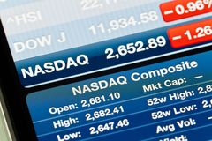 Nasdaq Composite on iPhone Stocks app Royalty Free Stock Photos