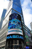 NASDAQ Headquarters. The electronic NASDAQ billboard in Times Square. Founded February 8, 1971, NASDAQ is now the largest electronic screen-based equity Royalty Free Stock Photo