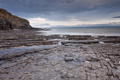 Nash Point, Glamorgan, Wales, UK. The rocky foreshore of Nash Point at low tide on the Glamorgan Heritage Coastline in Wales Royalty Free Stock Photos
