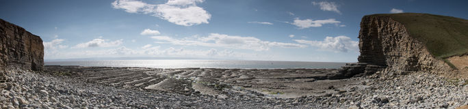 Nash Point. Panorama of Nash Point in Wales showing the jurrasic coastline with blue skies Royalty Free Stock Photo