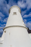Nash Point West  Tower Lighthouse. White lighthouse, Nash Point, Vale of Glamorgan, Wales Royalty Free Stock Images