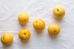Nashi päron på den vita bordduken Royaltyfria Bilder