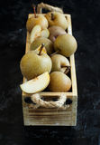Nashi Pears in a wood box Stock Photo
