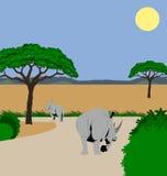 Nashorn und Kalb Lizenzfreie Stockfotografie