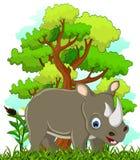 Nashornkarikatur mit Waldhintergrund vektor abbildung