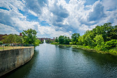 The Nashua River, in Nashua, New Hampshire. Royalty Free Stock Images