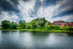The Nashua River, in Nashua, New Hampshire. Stock Photography