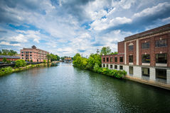 The Nashua River, in Nashua, New Hampshire. Royalty Free Stock Photography
