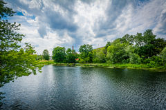 The Nashua River, in Nashua, New Hampshire. Stock Images