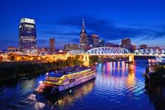Nashville al fiume Cumberland Fotografie Stock Libere da Diritti