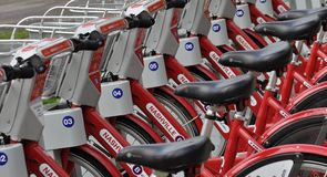 Nashville B Cycle Program. Close up view of parked bicycles at one of the many Nashville B Cycle stations located through Metro Nashville Davidson County Royalty Free Stock Image