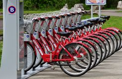 Nashville B Cycle Program. One of the many Nashville B Cycle stations located through Metro Nashville Davidson County Tennessee Royalty Free Stock Images