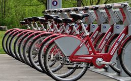 Nashville B Cycle Program. View of parked bicycles at one of the many Nashville B Cycle stations located through Metro Nashville Davidson County Tennessee Royalty Free Stock Photo