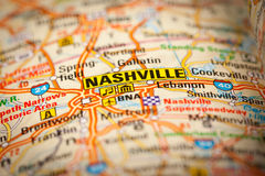 Nashville City on a Road Map Royalty Free Stock Photo