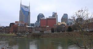 Nashville, cityscape van Tennessee met de Rivier 4K van Cumberland stock footage