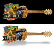 Nashville Guitar Vintage Artwork Folk Art. Roadsigns Record Country Music arrow directional vacation road trip grunge vector illustration