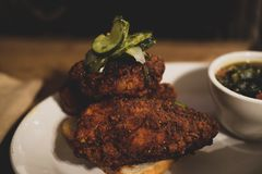 Nashville Hot Fried Chicken. From the Fremont Diner Royalty Free Stock Photography