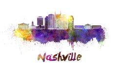 Nashville linia horyzontu w akwareli ilustracji