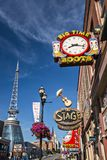 Nashville at Lower Broadway. NASHVILLE - JUNE 16: Honky-tonks on Lower Broadway June 16, 2013 in Nashville, Tennessee. The district is famous for the numerous Royalty Free Stock Photo
