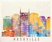 Nashville-Marksteinaquarellplakat lizenzfreie abbildung