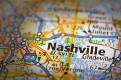 Nashville na mapie Zdjęcia Stock