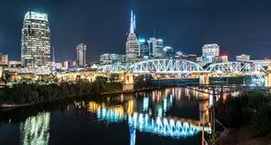 Nashville Night Skyline. Along the Cumberland river from the Korean Veterans Blvd bridge stock photo