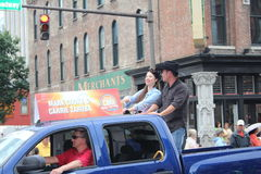 Nashville - Opening parade with Carrie Zaruba and Mark Cooke. Country stars in Nashville, Tennessee USA - famous Broadway street at the beginning of the parade Stock Photo