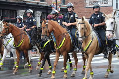 Nashville - Police on horses. Country stars in Nashville, Tennessee USA - famous Broadway street at the beginning of the parade opening the CMA festival 2013 Royalty Free Stock Photo