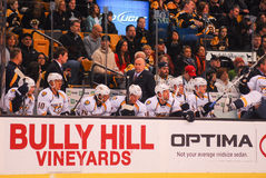 Nashville Predators bench. Predators bench during a game at TD Garden, Boston, MA Stock Images