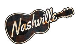 Nashville Sign Grunge. Nashville Sign Metal Grunge Music Guitar Johnny Cash Grand Ol Opry rustic vintage street Tennessee Williams royalty free illustration