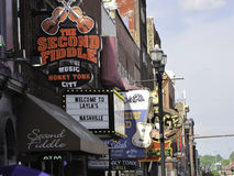 Nashville signs. Signs of Nashville bars where upcoming musicians play their music Royalty Free Stock Photos