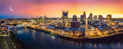 Nashville skyline with moon. Nashville skyline with Cumberland river and moon royalty free stock images