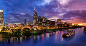 Nashville Skyline. Looking over Nashville with a boat in the picture Royalty Free Stock Image
