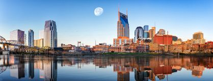 Nashville Skyline in the morning. Nashville skyline taken early in the morning with moon Royalty Free Stock Image