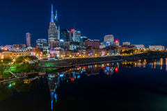 Nashville Skyline. Nighttime in Nashville Tennessee across the Cumberland River Stock Photo