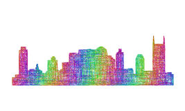 Nashville skyline silhouette - multicolor line art Stock Photography